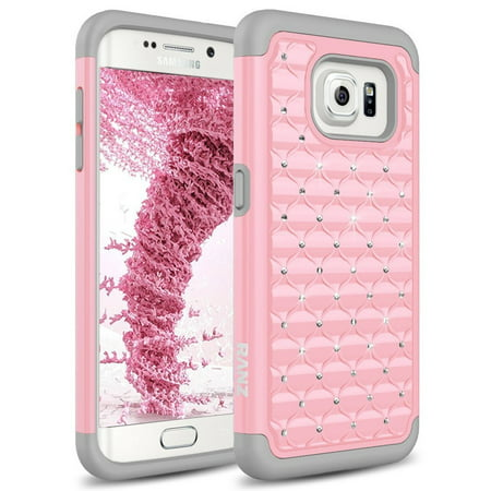 Galaxy S7 Edge Case, Spot Diamond Studded Bling Crystal Rhinestone Dual Layer Hybrid Cover Silicone Rubber Skin Hard Case for Samsung Galaxy S7 Edge - Grey/Pink