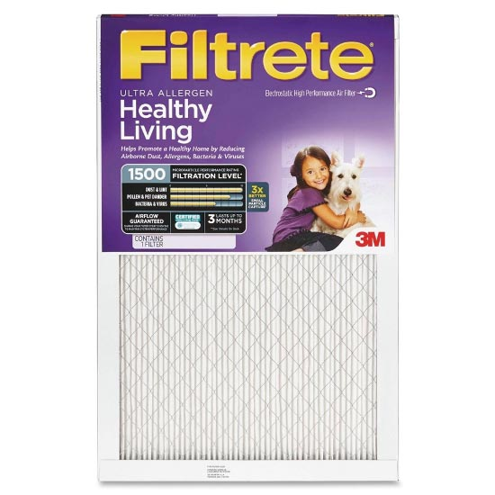 14x25x1 (13.7 x 24.7) Filtrete Healthy Living 1500 Filter by 3M (2 Pack) by 3M Filtrete