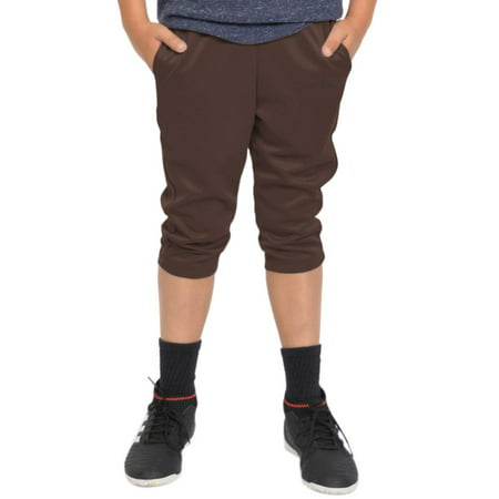 Boy's Cropped Soccer Active Joggers - Brown / XX Small (2)