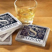 Personalized Floral Initial Coaster