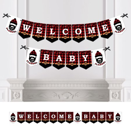 Lumberjack - Channel The Flannel - Baby Shower Bunting Banner - Buffalo Plaid Party Decorations - Welcome Baby for $<!---->