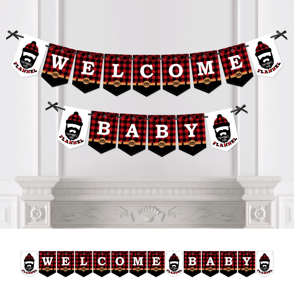 Lumberjack - Channel The Flannel - Baby Shower Bunting Banner - Buffalo Plaid Party Decorations - Welcome Baby