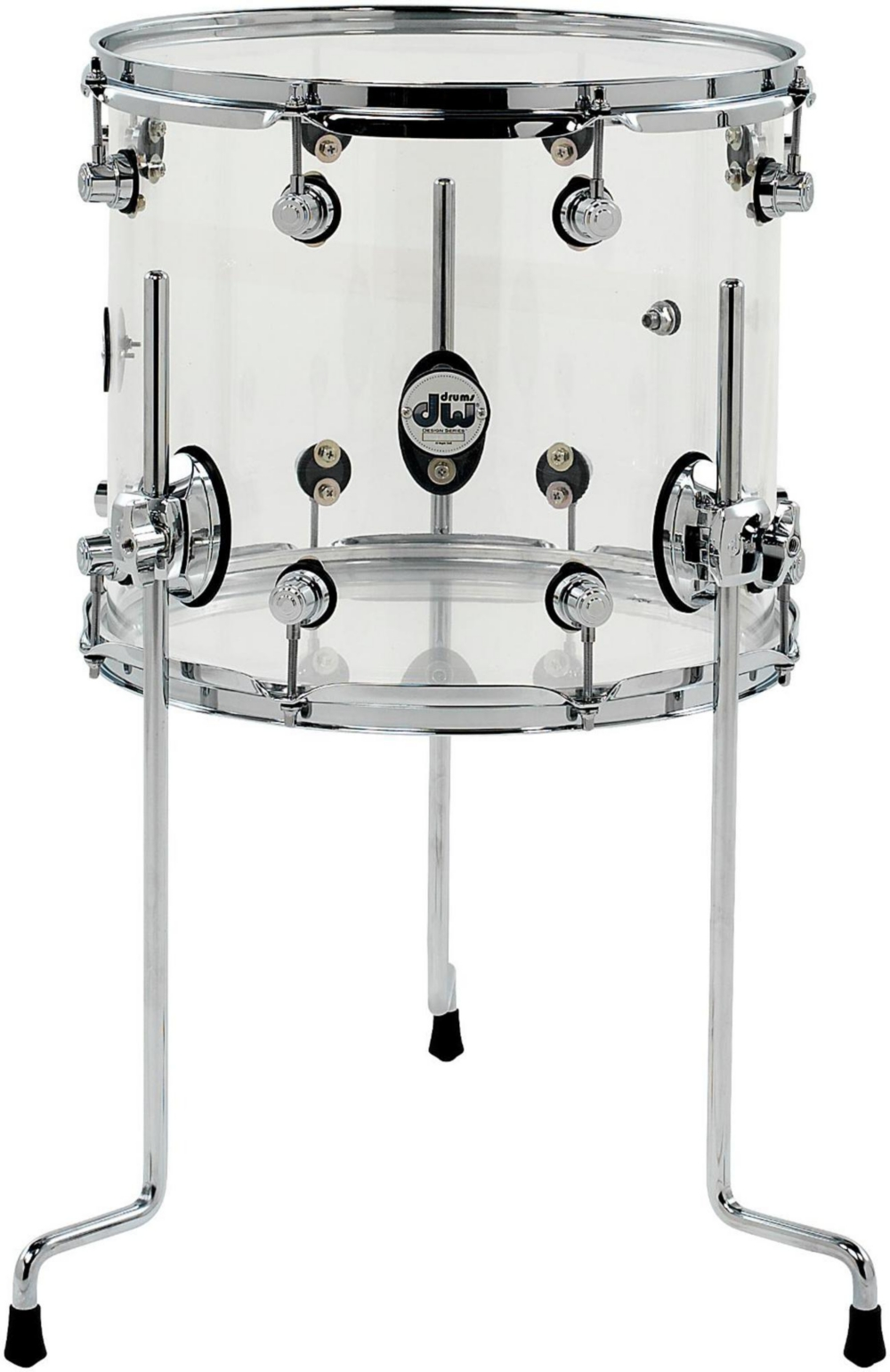 DW Design Series Acrylic Floor Tom with Chrome Hardware 14 x 12 in. Clear by DW