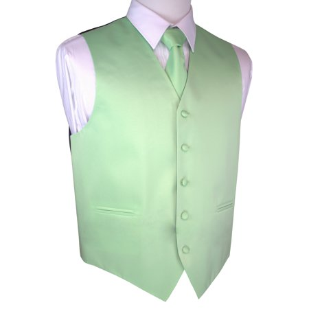 Italian Design, Men's Tuxedo Vest, Tie & Hankie Set - - Mint Green Tuxedo