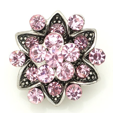1 PC 18MM Pink Star Flower Rhinestone Silver Candy Snap Charm kb8893 CC1590