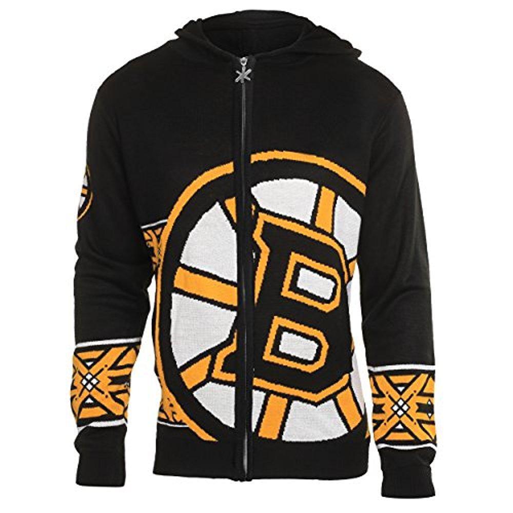 NHL Boston Bruins Men's Full Zip Hooded Sweater, Large, Black