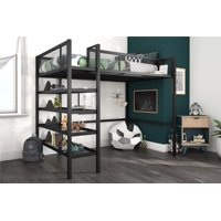 Mainstays Metal Storage Loft Bed with Book Case, Twin Bunk, Multiple Colors