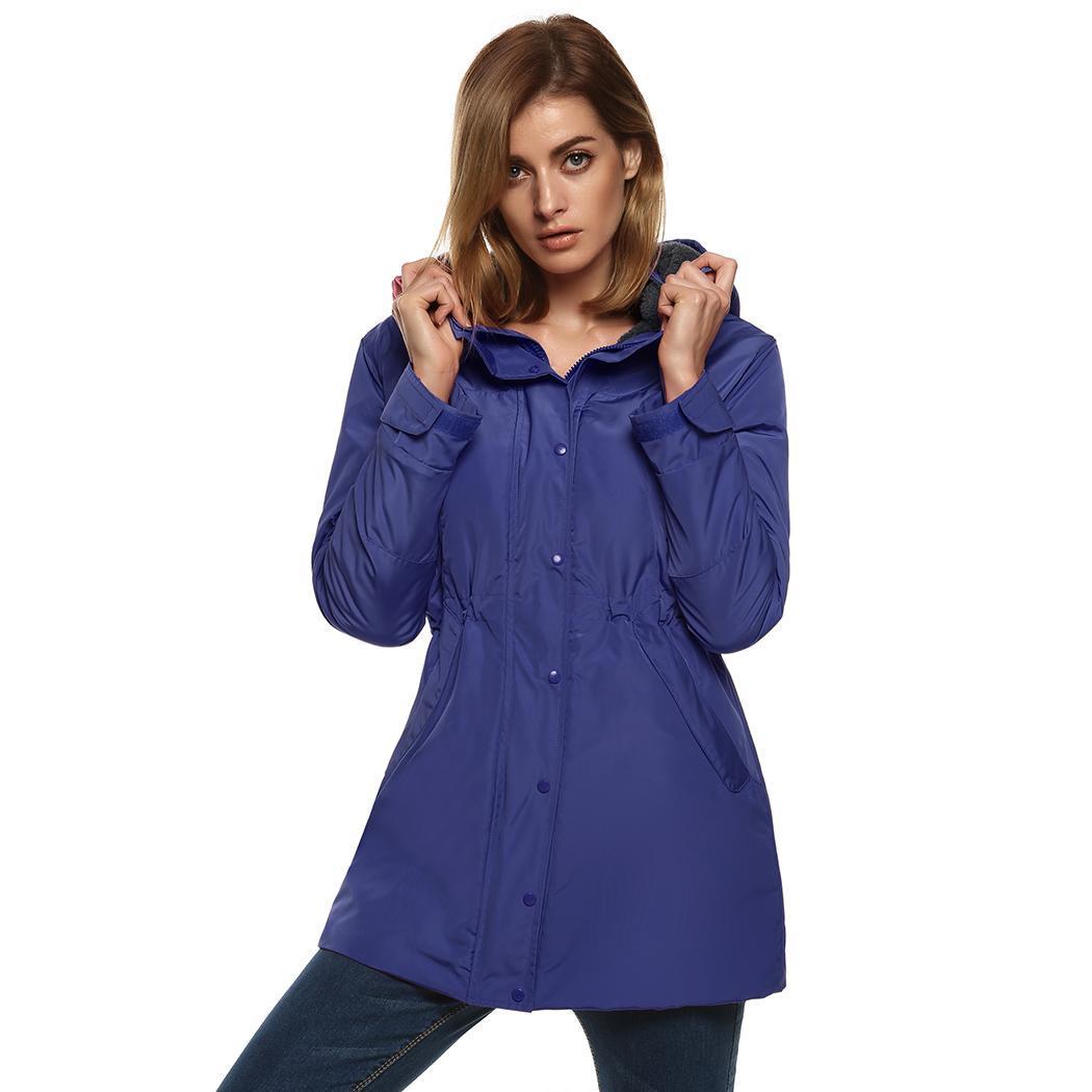 Winter Womens Front Zip Waterproof Jacket Windproof Hooded Parka Coat by