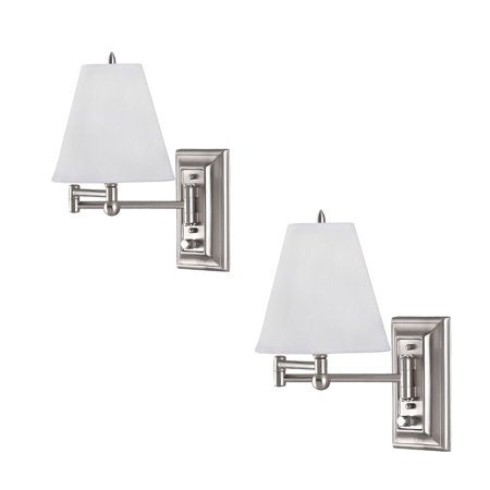 2 Pack Brushed Nickel Wall Mount Swing Arm Reading Bedside Lamp Bedroom Lights