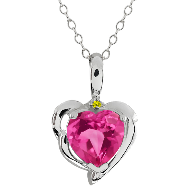 2.22 Ct Heart Shape Pink Mystic Topaz Canary Diamond 925 Sterling Silver Pendant