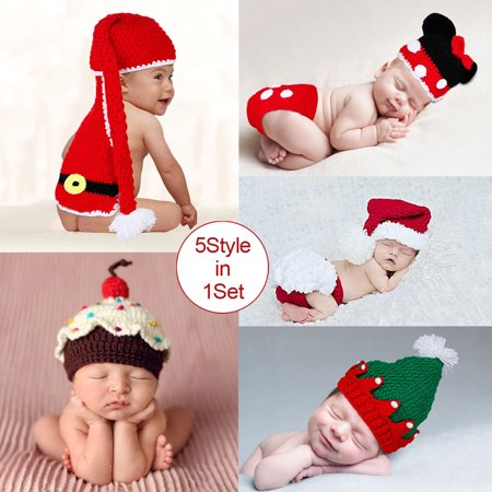 Baby Photography 5style Santa Mickey Christmas tree hat Christmas baby cake cap Free shipping