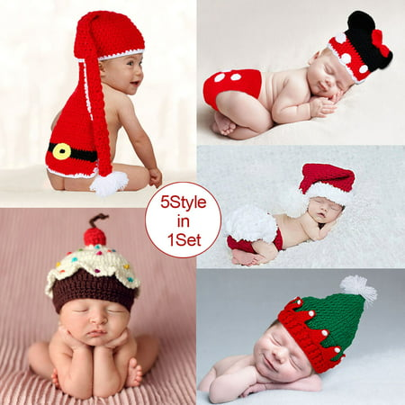 - Baby Photography 5style Santa Mickey Christmas tree hat Christmas baby cake cap Free shipping