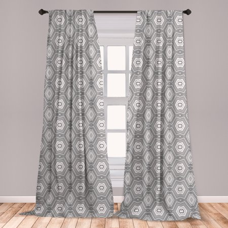 Grey and White Curtains 2 Panels Set, Abstract Pattern with Lots of Triangular Elements a Greyscale of Forms, Window Drapes for Living Room Bedroom, White and Grey, by Ambesonne ()