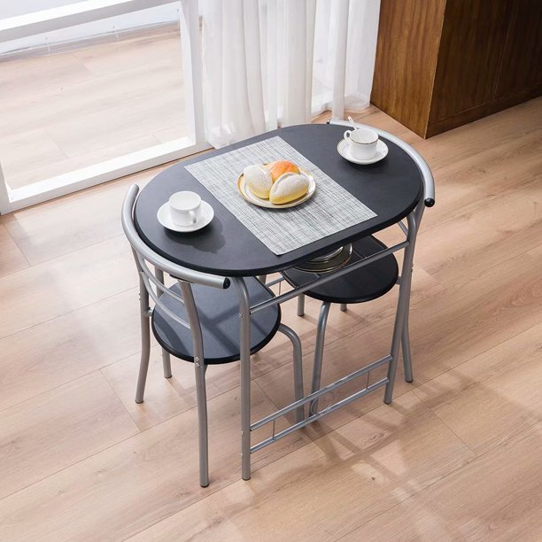 PVC Breakfast Table (One Table and Two Chairs) Black - Walmart.com