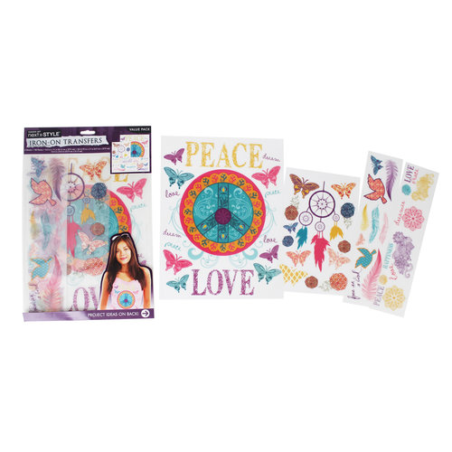 Next Style Iron-On Transfer Value Pack, Love/Peace Sign