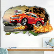 Sports Themed Wall Decals Decorative Removable 3D Car Wall Stickers Mural Sticker Wall Art Decor Birthday Gift Decorations for Kids Boys Room Child Bedroom