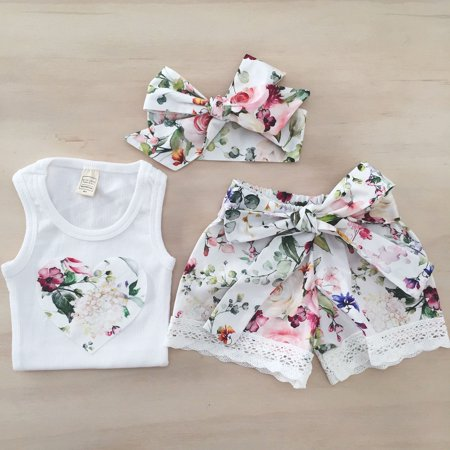 XIAXAIXU Kids Baby Toddler Girl Summer Clothes Love Heart Vest Tops + Lace Shorts Pants + Headband Outfits Sunsuit Set
