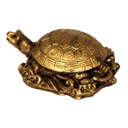 Brass Turtle - Fabulous Hong Tze Collection--Small Longevity turtle Brass Color
