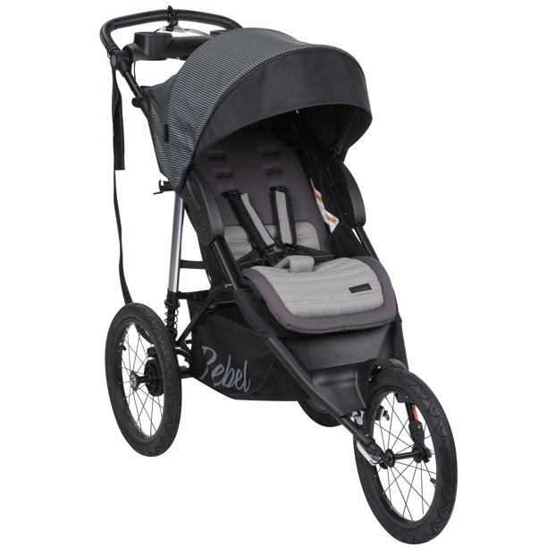 Monbebe Rebel Jogging Stroller, Gray and Black Pinstripe