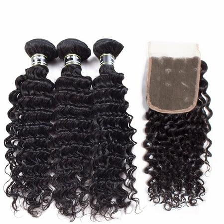 Beroyal Human Hair 3 Bundles with Closure Free Part Malaysian Virgin Hair Deep Wave, 16