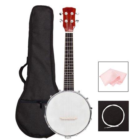 Zimtown 4 String Banjo Ukulele Uke Concert 23 Inch Size Sapele with Bag+Cloth+Tag+Ukulele String (Left Handed Banjo)