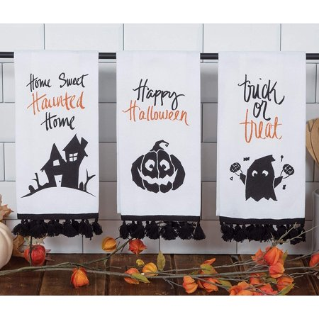 Halloween Word Art 3 Assorted Glitter Tea Towels - Klay Halloween