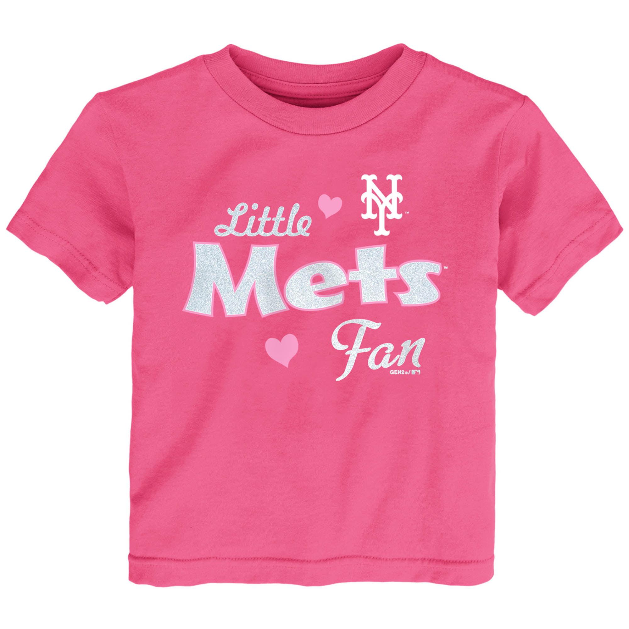 New York Mets Girls Toddler Fan T-Shirt - Pink