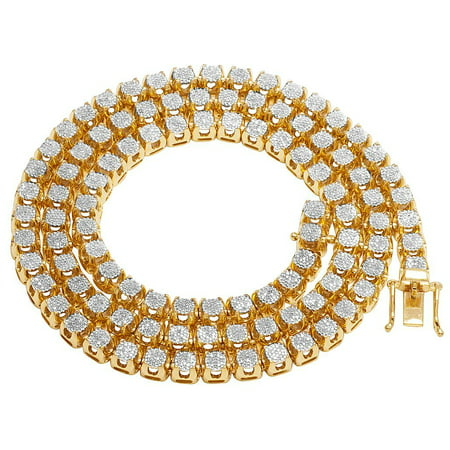 - 10K Yellow Gold Diamond 6MM Cluster Tennis Chain Necklace 6.2 CT 24