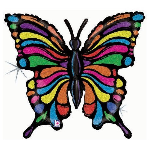 "Pretty Rainbow Striped Butterfly 33"" Mylar Balloon"
