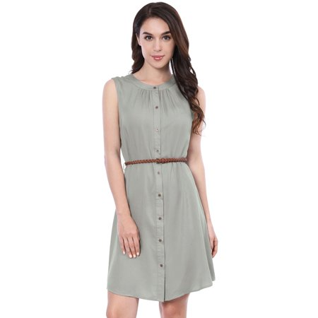 Women's Button Down Above Knee Belted Vintage Sleeveless Shirt -