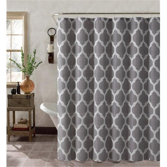 Luxury Home Foli Trellis Jacquard Shower Curtain Set, Grey - 72 x 72 inch - 13 Piece Set