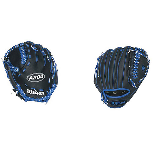 "Wilson A200 Boys Tee Ball Glove, 10"", Black/Royal Blue"