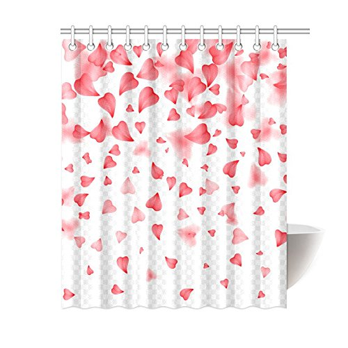GCKG Falling Red Hearts Shower Curtain Valentine Love Polyester Fabric Bathroom Sets 60x72 Inches