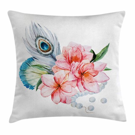 Shabby Chic Decor Throw Pillow Cushion Cover, Watercolor Peony Anemone Flowers Peacock Feather and Beads Artful Image, Decorative Square Accent Pillow Case, 16 X 16 Inches, Multicolor, by Ambesonne - Decorative Brads