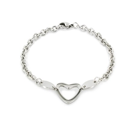 Stainless Steel Polished Heart Cut-out Charm Bracelet 629 Polished Stainless Steel
