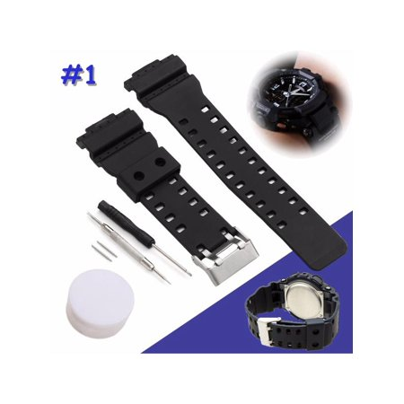 Black Silicon Strap - Black Silicone Rubber Replacement Strap Band With Tool For G-Shock Watch Fitting 16mm Width - for G-Shock GA-100 G-8900 GW-8900 + Many More