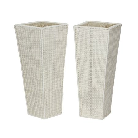 Household Essentials Tall Resin Wicker Floor Vase Planters Set Of 2