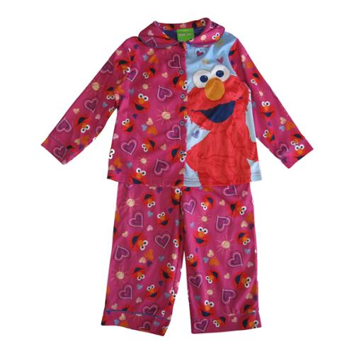 Sesame Street Little Girls Fuchsia Elmo Heart Print 2 Pc Sleepwear Set 4T