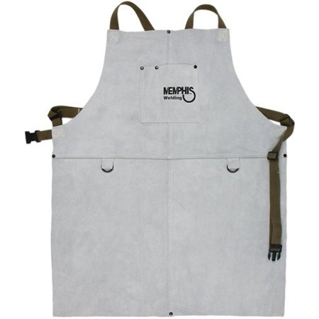38130MW 24 by 30-Inch Memphis Split Cow Leather Welding Bib Apron with Front Pocket, Gray, Memphis welding bib apron with front pocket By MCR