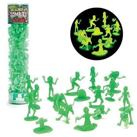 Zombie Action Figures - Big Bucket of 100 Glow in the Dark Zombies - Includes Zombies, Zombie Pets, Gravestones, and Humans For Halloween Parties - Gravestones For Halloween