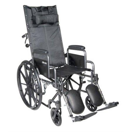 "Reclining 18"" Wheelchair, Steel Frame, Black, Detachable Desk Arm, Swing Away Elevating Foot Rest, 300 Lb. Capacity"