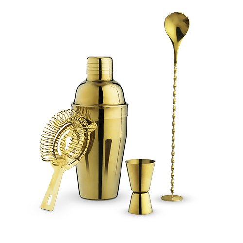 Barware Set, Gold 4pcs Stainless Steel Modern Decorative Barware Tool Set