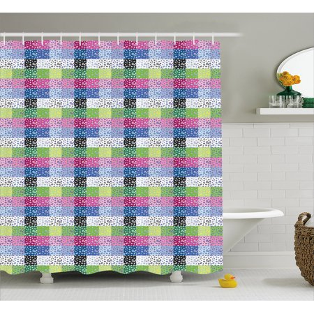 Leopard Print Shower Curtain Checkered Colorful Pattern With 80s And 90s Funky Pop Fashion Influences Fabric Bathroom Set Hooks 69W X 75L Inches