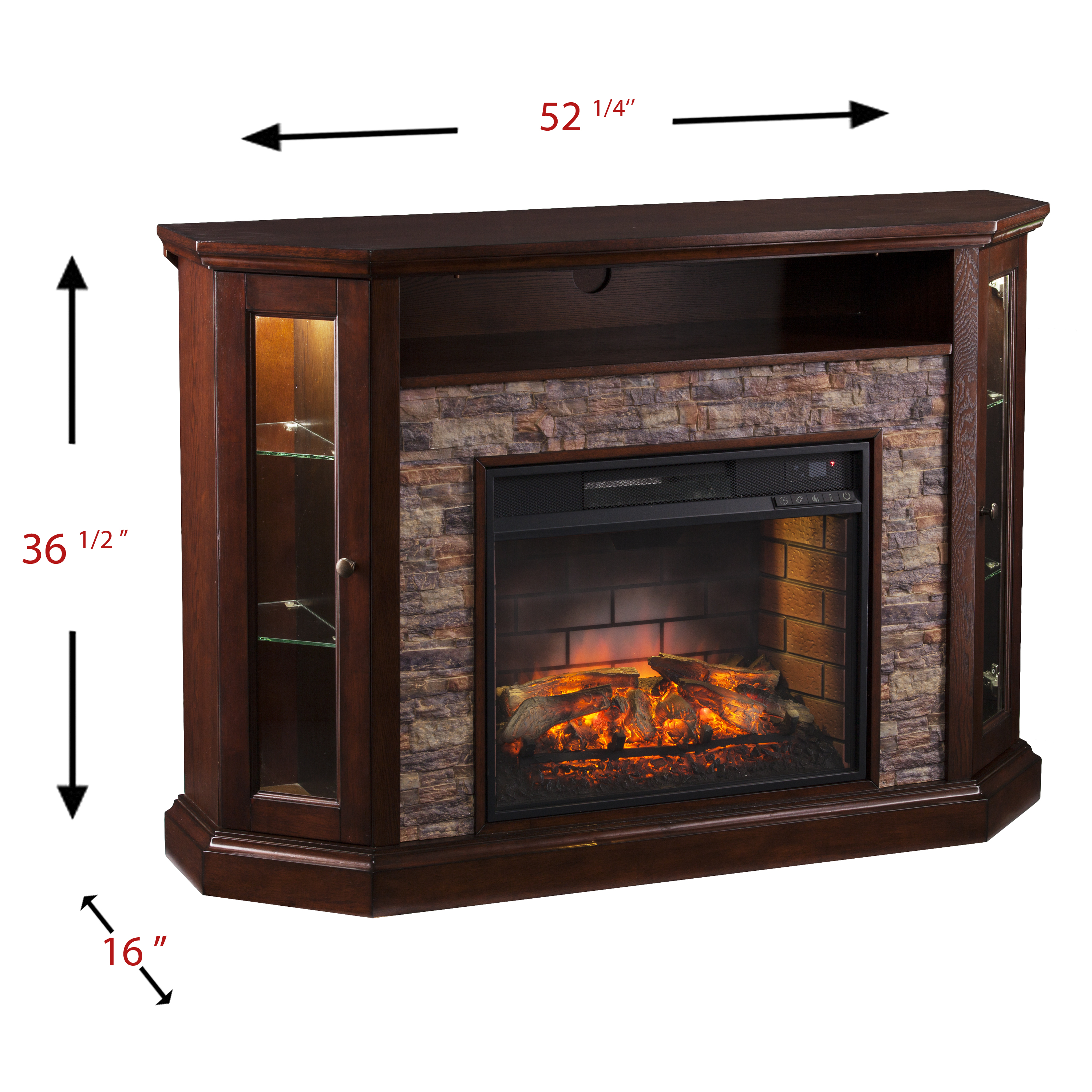 """Renstone Corner Media Console with Electric Fireplace For TV's up to 50"""" Espresso"""