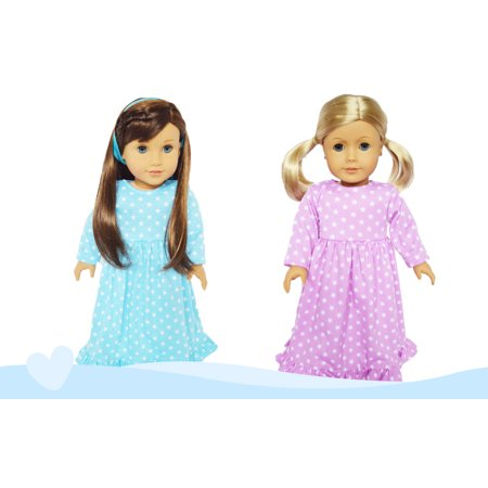 My Brittany's 2 Pack Nightgowns Lavender and Blue for American Girl Dolls and My Life as Dolls- 18 Inch Doll Clothes - Doll Clothes For Halloween