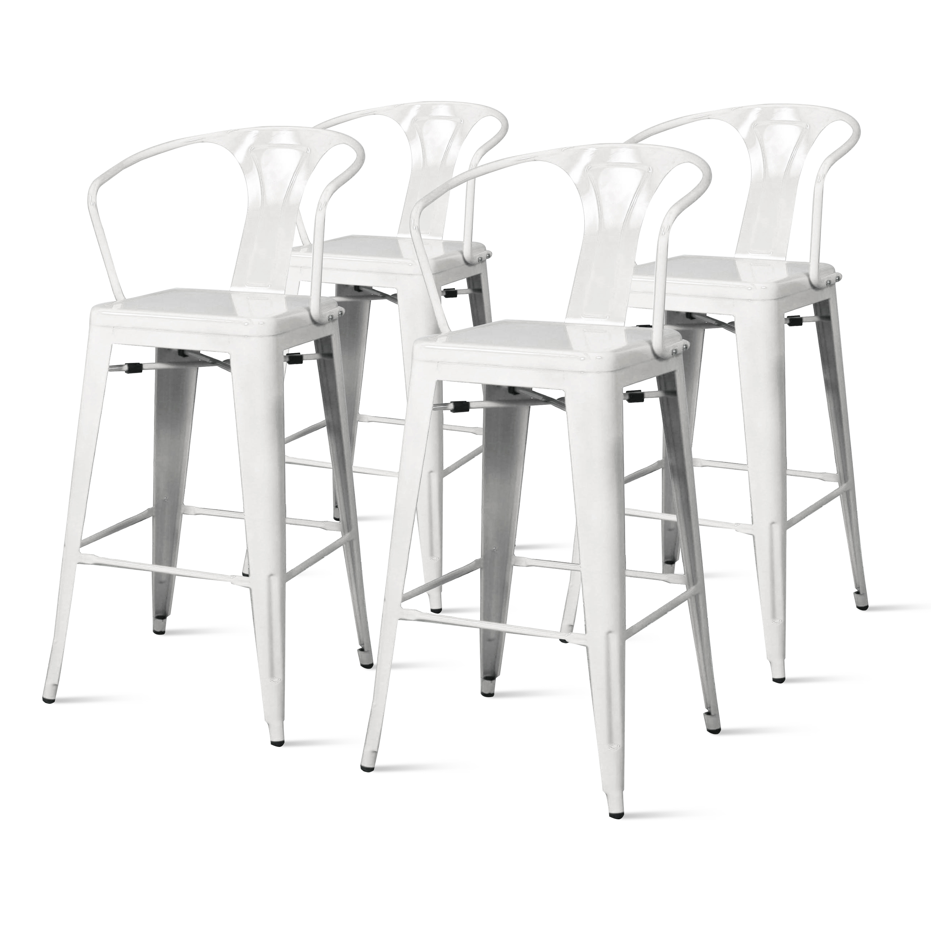 Metropolis Metal Arm Counter Stool (Set of 4), Multiple Colors