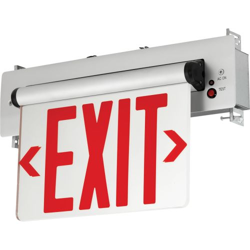 Progress Lighting PEERE-SR-16 Double Sided Red Edge-Lit Recessed LED Exit Sign Brushed Aluminum