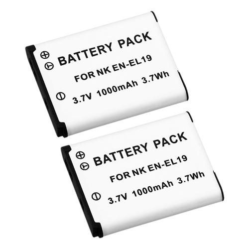 Insten 2-Pack Battery EN-EL19 ENEL19 for Nikon Coolpix S2500 S3100 S3300 S4100 S4300 S5200 S6400 S6500 S6600 S6800 S100