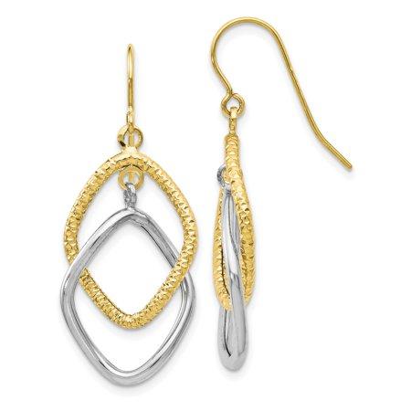 Leslie's 10K Two-tone Shepherd Hook Dangle Earrings TB44 - image 2 de 2