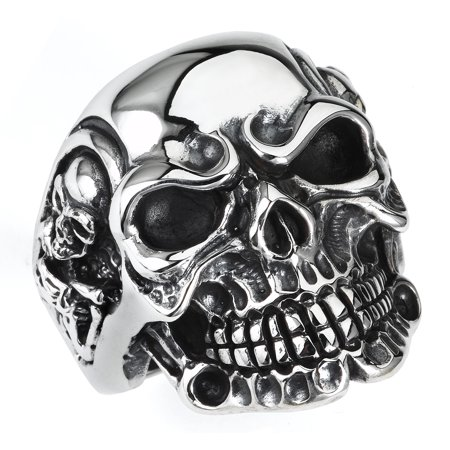 Stainless Steel Skull Ring and Skulls on the Sides (Available in sizes 9 to - Plastic Skull Rings